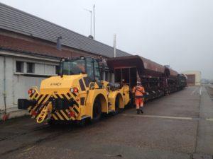 B-Track 16 utilisé pour le mouvement de wagons dans un centre de maintenance de wagons en Bourgogne Franche-Comté
